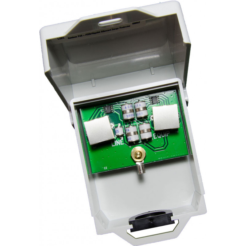LAOGPE20-RJ45-01, 20kV RJ-45 GbE Non-Metallic 802.af/at, PoE++, 4PPoE lightning arrestor