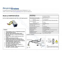 LA1000POE-RJ45-02, 6kV RJ-45 GbE Non-Metallic 802.af/at, PoE++, UPoE lightning arrestor